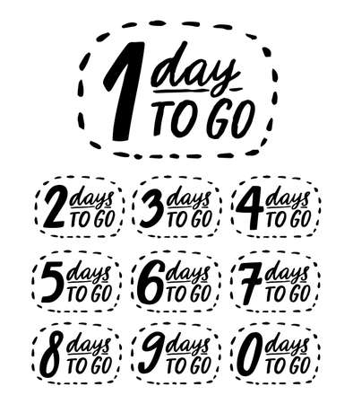Days to go. Handwritten numbers, countdown template for sale, promo and offers. Black vector doodle badges from 0 to 9. 矢量图像