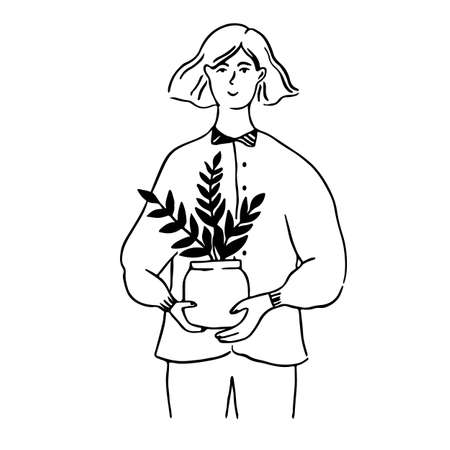 Woman holding pot with plant. Young female character, eco lifestyle concept illustration. Line doodle vector portrait