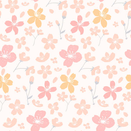 Apricot and cherry blossom pattern, seamless ditsy texture for fabric and paper. Vector spring white background.