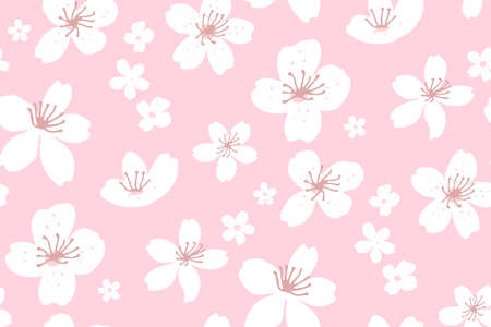 Pink spring cherry blossom background, seamless texture with sakura flowers. Large scale pattern for textile and paper. Vector asian backdrop. 矢量图像