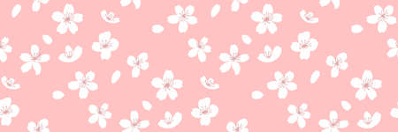 Spring horizontal background, seamless sakura texture with flowers and falling petals. Vector repeat for fabric and paper design