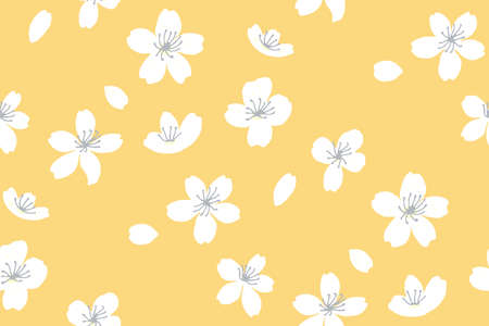 Yellow spring background with white tree blossom.  peach flowers, falling petals. Asian sunny seamless texture. Vector japanese repeat. 矢量图像