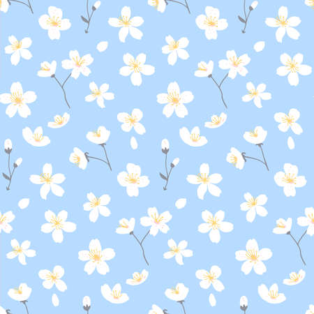 Blue spring floral background with apple tree and cherry blossom. Delicate ditsy texture for paper and fabric design. Vector seamless pattern.