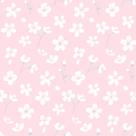 Pink sakura seamless pattern, girlish background with white flowers. Simple and cute texture with petals and blossom. 矢量图像