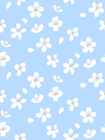 Blue spring tree blossom pattern, seamless background. White flowers and falling down by wind petals. Adorable asian vector texture for textile and paper design