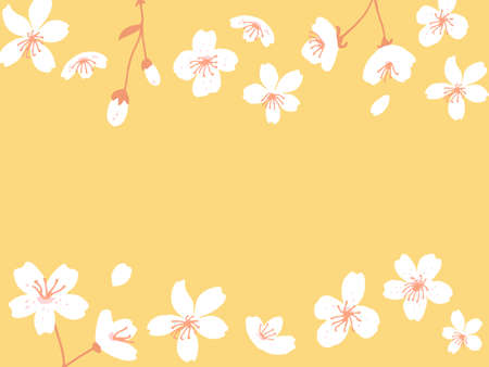 Spring blossom horizontal banner. Apple and peach tree flowers card vector illustration. Yellow background with floral border.