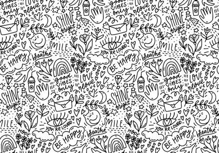 Positive words doodle pattern, lots of hand drawn elements and sayings. Smile, be happy, shine - handwriting text background. Coloring page, cafe wall art texture. Vector line seamless illustration 矢量图像