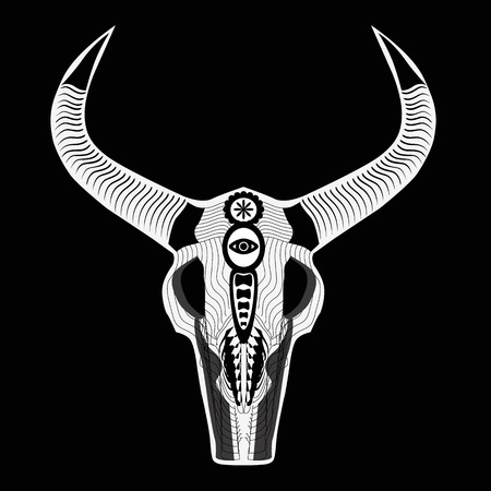 the skull of a bull in the Indian style