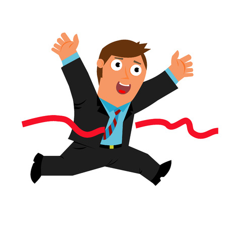 wins: Businessman wins and breaks the red ribbon Illustration
