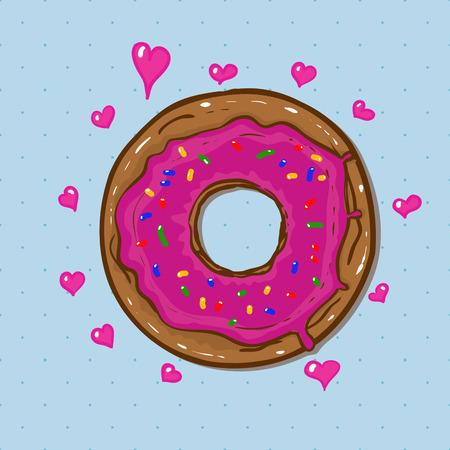 donut style: vector donut in cartoon style Illustration
