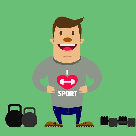 sportsmen: happy sportsmen with two kettlebbels
