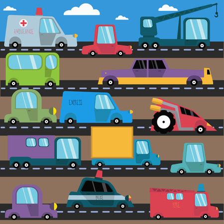 cars on road: Cartoon cars with little tires.
