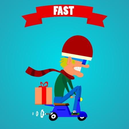 moped: Cartoon moped driver