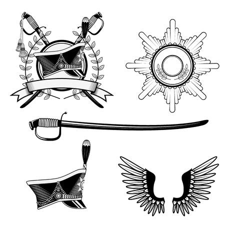 napoleon: Shako Hussar, roundels, scimitar. Set of items for design in vector