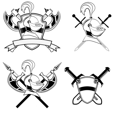 middleages: knights helmet, shield and swords and battle-ax.Set of design elements in vector Illustration