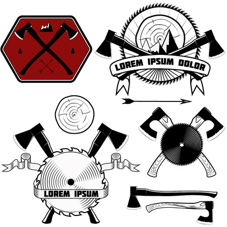 handsaw: Harvester, emblems for lumberjack axes, circular saw. Set of vector elements for design