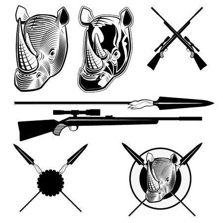 fusil de chasse: Rhinocéros, lances africains, fusil de chasse. Un ensemble d'éléments vectoriels pour la conception Illustration