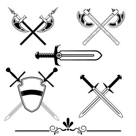 knightly: knightly swords and battle axes. set of design elements for logos, design games