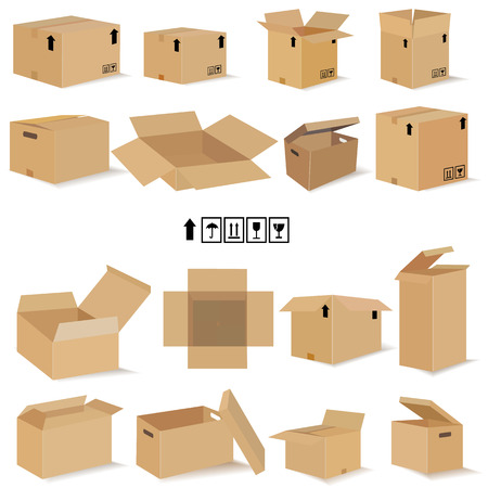 unbuttoned: boxes in vector.Set for design in vector