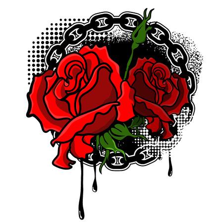 mishmash: roses with grunge background.Design element in vector Illustration