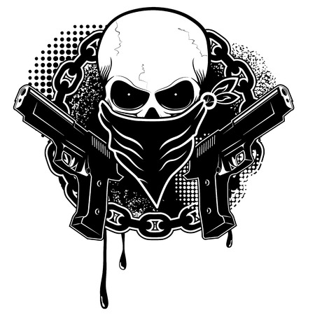 skull and two pistols with grunge background.Design element in vector Vettoriali
