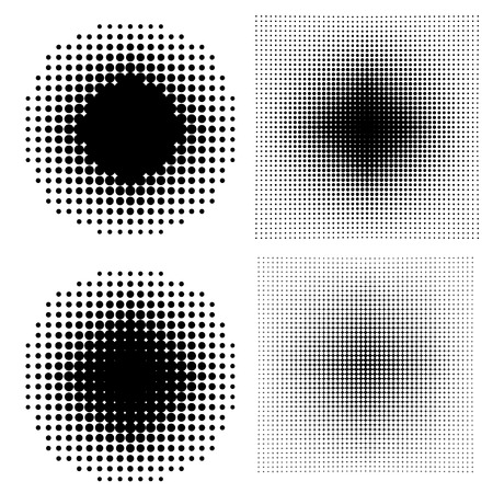 moire: Halftone dots on white background.Set of design elements in vector Illustration