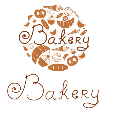 eclair: composition of the bakery products.set of the vector elements Illustration