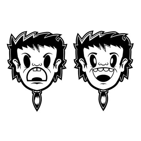 teenagers laughing: boy head cartoon character.design element in vector