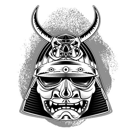 tattoo traditional: samurai mask.design element in vector