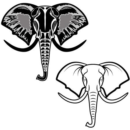 black mammoth: elephant headdesign element in vector Illustration