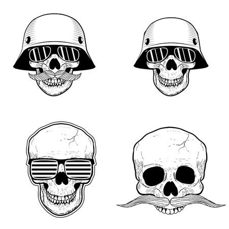 holding on head: skull.Design element in vector