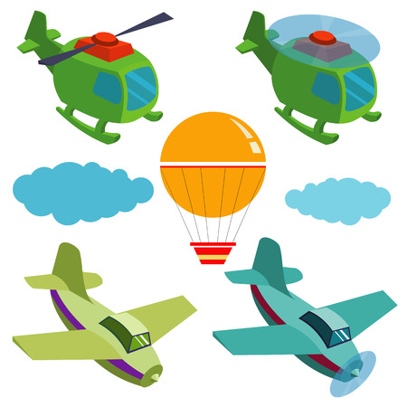 airplane wing: flying vehicles.set of vector flying vehicles for design