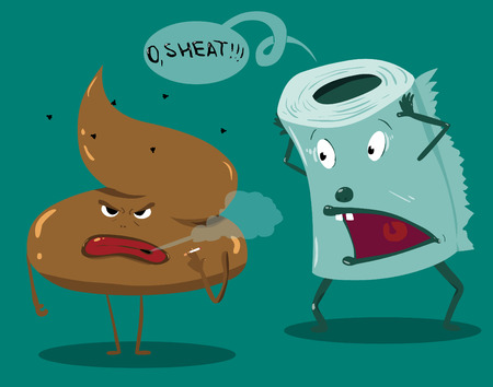 toilet icon: shit and toilet paper.vectro illustration Illustration