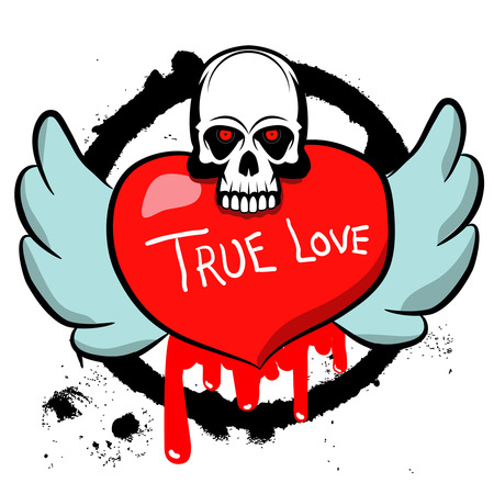 death head holding: skull and heart on grunge background.Design element in vector