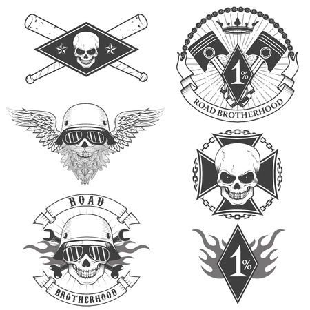 motorcycle repair shop: Set of the biker labels in vector Illustration