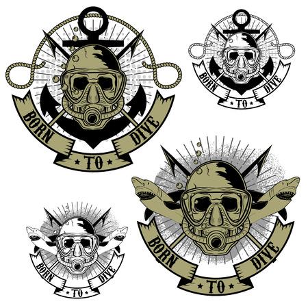ベクトルのダイバーのロゴ。  イラスト・ベクター素材