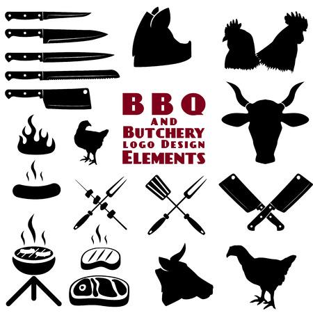 carne de res: Conjunto de las herramientas de carnicería y barbacoa en el vector