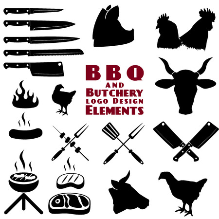 meat on grill: Set of the butchery and bbq tools in vector Illustration