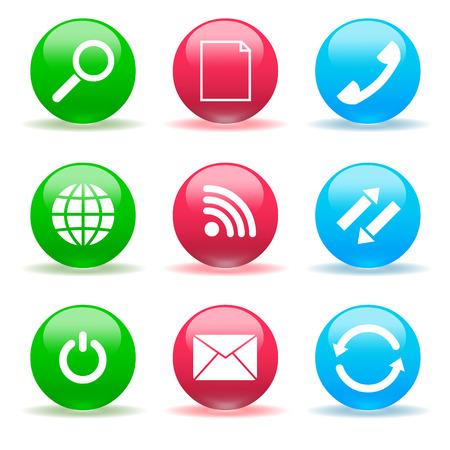 glass buttons: Internet buttons.Set of vector glass buttons Illustration