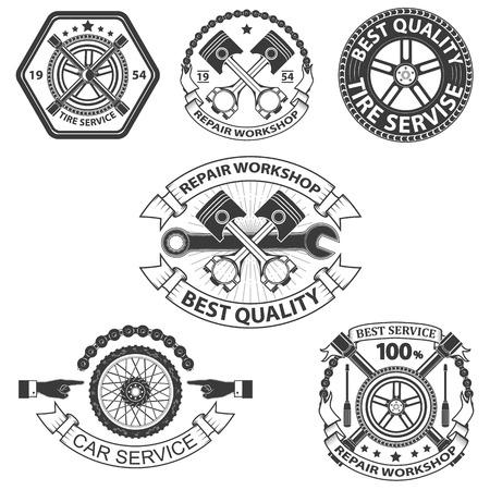 automotive mechanic: labels.Set servicio de alquiler de elementos de diseño en vector