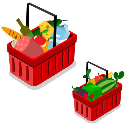 shopping basket set in vector Ilustracja