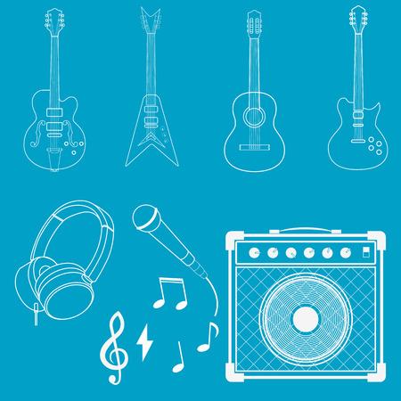 amplifiers: guitars, amplifiers, microphones and headphones.Set in vector Illustration