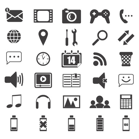 mobile icons: mobile icons set invector Illustration