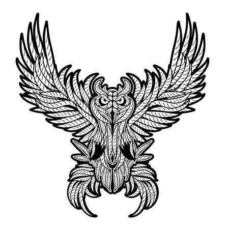 owl tattoo: Vintage owl tattoo style.