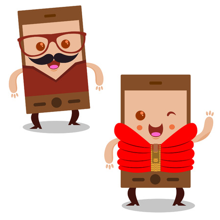 smart card: Smart phone with glasses, jacket and with a mustache.
