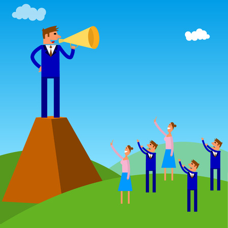 businessman using a megaphone: people management.dictate their will. Illustration