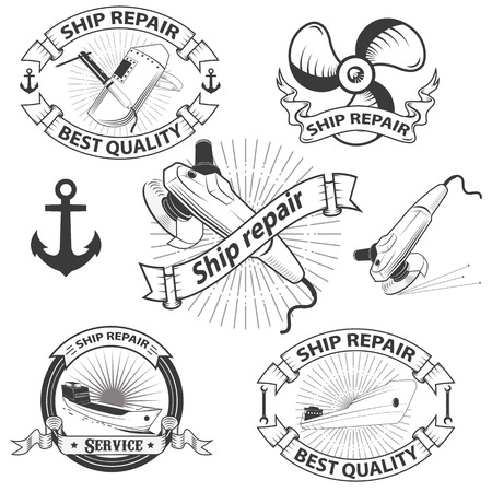 anchor man: ship repear labels.design set in vector. Illustration
