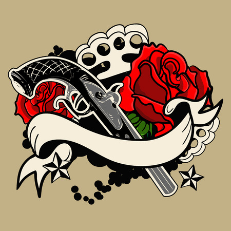 guns and roses tattoo. Illustration