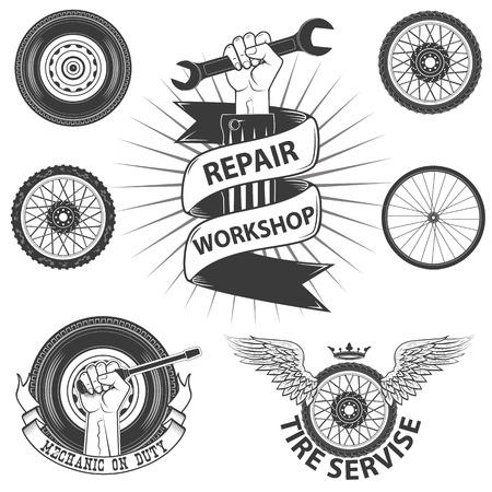 mecanico: labels.Set servicio de alquiler de elementos de diseño en vector