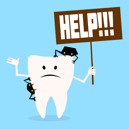 dirty teeth: tooth asks for help.